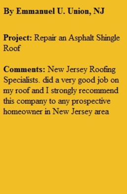 Roofing Replacemnt Union NJ